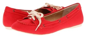 Penny Loves Kenny Canvas Flat Fabric Red Flats