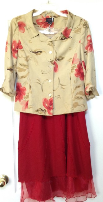 Studio G Mustard with dark coral/ red flowers Blazer