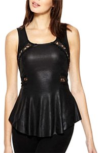 Pout Peplum Leather Faux Sleeveless Top Black