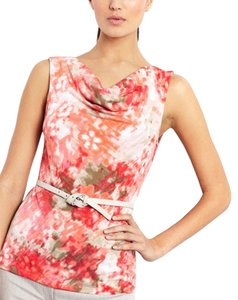Tahari Cowl Neck Coral Ivory Floral Top Coral/Ivory