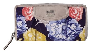 Coach * Coach Pleated Canvas Floral Zip Around Wallet