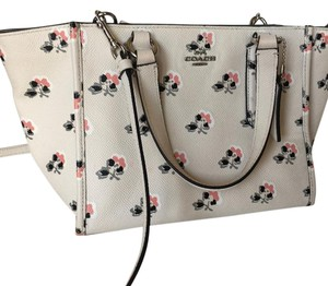 Coach Floral Vintage White Crossbody Tote in Ivory, Pink, Black