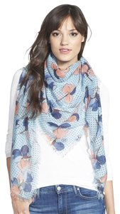 Tory Burch Tory Burch 'Primula Dot' Square Wool Gauze Scarf Floral Dots blooms, NEW