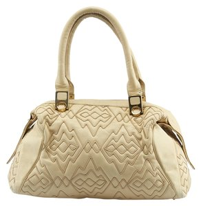 Judith Leiber Leather Satchel in Cream
