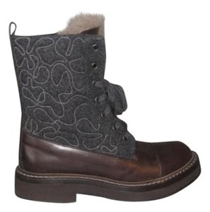 Brunello Cucinelli Brown Dk Gray Chain Fur Short Ankle GRAY BROWN Boots