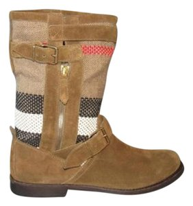 Burberry Brit Nova Check Grantstone Flat Short Oak Brown Boots