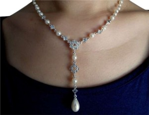 Carole Little Carolee Crystal and Pearl Y Necklace