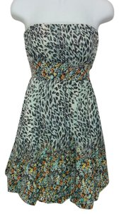 American Rag short dress Blue Yellow Orange Floral Leopard Print Empire Waist Medium Strapless on Tradesy