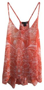 Aqua Spring Floral Sheer Flowy Top Orange