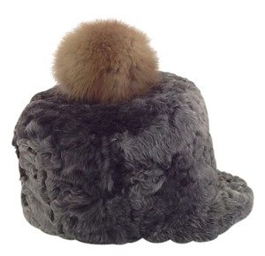 Other HAND MADE NATURAL GRAY PERSIAN SHEEP UNISEX HAT WITH NATURAL FUR POM SIZE L (58) NEW WITH TAG