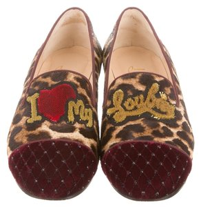 Christian Louboutin Brown Beige Black Red Multicolor Ponyhair Leopard Leather Animal Print Animal Print My Love I Love My Loubies Loafer 39 Red, Brown Flats