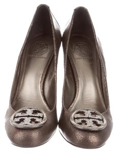 Tory Burch Pierson Round-toe Metallic Pewter Leather Jewel Embellished Logo Gray Pumps