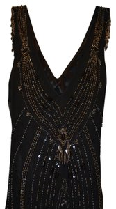 Sue Wong Vintage Beaded Cocktail Flapper Gold Beaded Dress