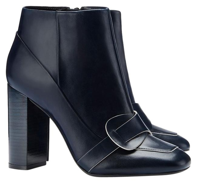 Item - Navy Box New Blue Bond Leather Heels Ankle Bag Boots/Booties Size US 7 Regular (M, B)