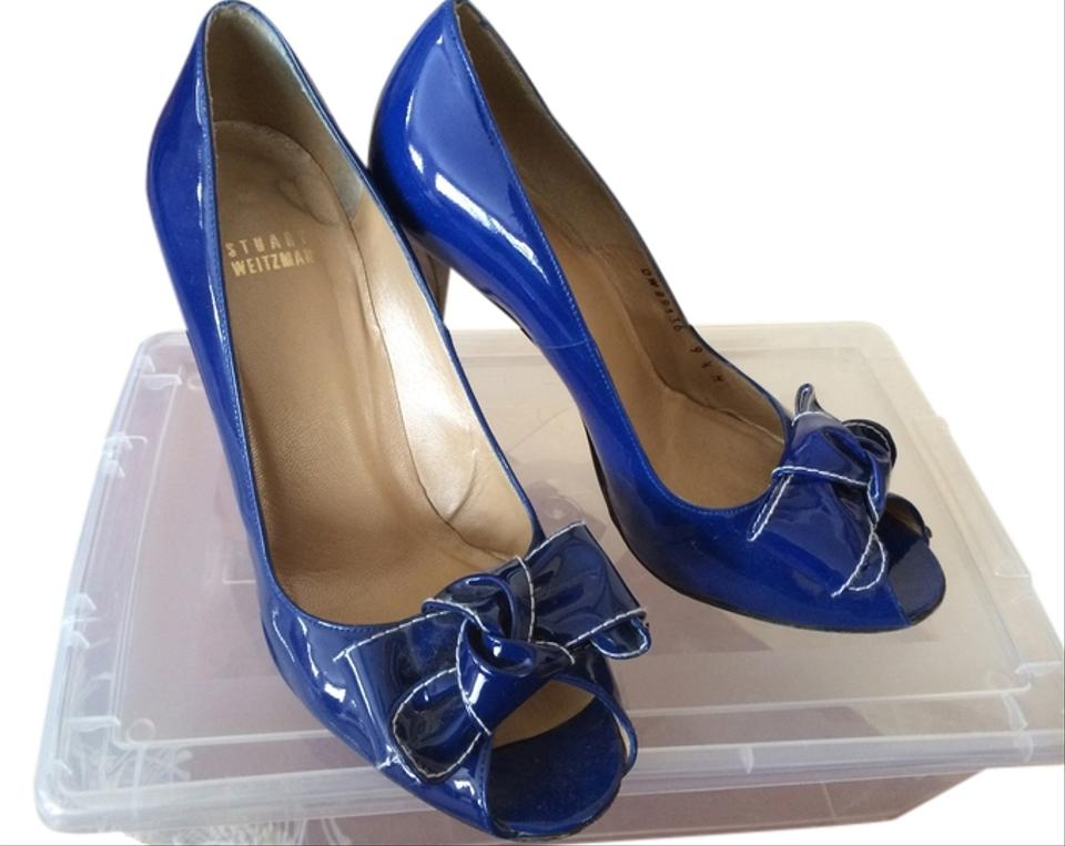 casual shoes on feet images of designer fashion Stuart Weitzman Blue Patent Leather Heel Pumps Size US 9.5 Regular ...
