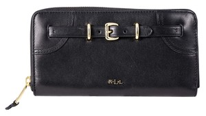 Ralph Lauren * RAPLH LAUREN BUCKLED ZIP AROUND LEATHER WALLET BLACK