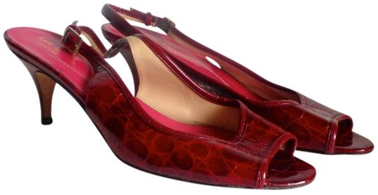 Kate Spade Patent Leather Deep Croc Print Gold Hardware Red Wine, Burgundy Sandals