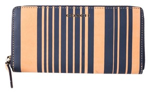 Coach * Coach Saffiano Leather Zip Around Wallet Brown & Blue Stripe
