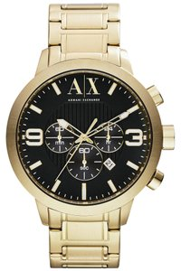 A|X Armani Exchange Armani Exchange Men's Black Dial Gold Tone Stainless Steel Chronograph Watch AX1357