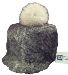 HAND MADE NATURAL GRAY PERSIAN SHEEP UNISEX HAT WITH NATURAL FUR POM SIZE L (58) NEW WITH TAG