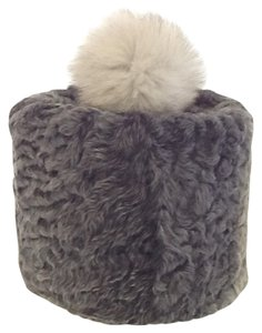 HAND MADE NATURAL GRAY PERSIAN SHEEP UNISEX RUSSIAN PAPAKHA HAT WITH NATURAL FUR POM SIZE XL 58 NEW WITH TAGl