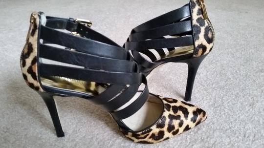 Michael Kors Strappy Heels Sexy Leopard Print and Black Pumps
