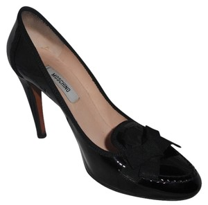 Moschino Patent Leather Bow Detail Black Pumps