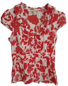 Forever 21 Ruffle Cap Sleeve Top Red and White