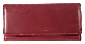 Coach * Coach Slim Envelope Wallet BURGUNDY Saffiano Leather