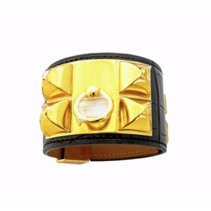 Hermès Hermes Black Matte Crocodile Croc Collier de Chien CDC Leather Cuff Bracelet Gold
