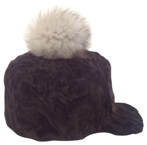 HAND MADE NATURAL DARK BROWN PERSIAN SHEEP UNISEX HAT WITH NATURAL FUR POM SIZE XL NEW WITH TAG