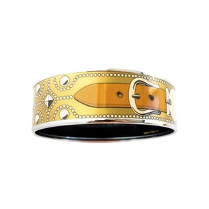 Hermès Hermes Gold CDC Printed Enamel Bracelet Bangle Collier de Chien