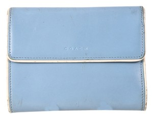 Coach * Coach Baby Blue Leather Trifold Coin Purse Wallet