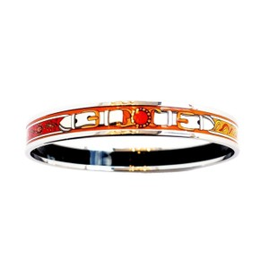 Hermès Hermes Orange White Printed Enamel Bracelet Bangle 70
