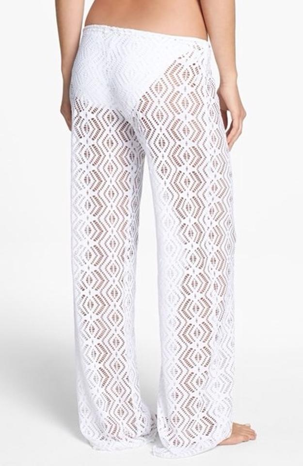 6b7b89ad51 Becca by Rebecca Virtue White Crochet Pants Cover-up/Sarong Size 12 ...
