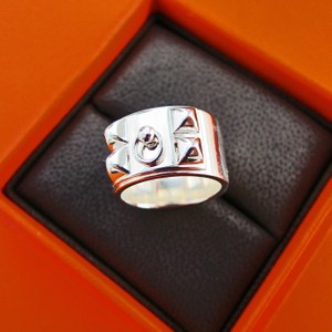Hermès Hermes Solid Silver Collier de Chien CDC Ring 54 or 6.5