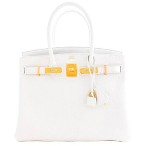 Hermès 30cm Birkin Ghw Gold Satchel in White
