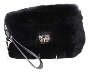 Coach Silver Rabbit Fur Wristlet Black Clutch