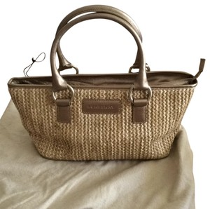 Burberry London Satchel in Woven With Bronze/gold Leather