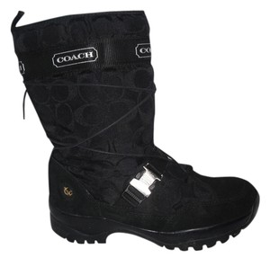 Coach Sela Suede Signature Fabric Snow Logo Monogram Black Boots