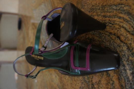 Emilio Pucci Brand New No Box Brown with Pink and green accent Pumps