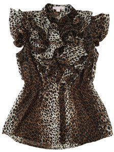 Romeo & Juliet Couture Leopard Ruffle & Button Down Cap Sleeve Summer Spring Top Leopard Print