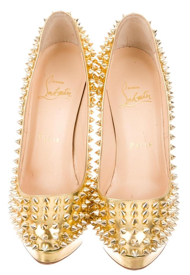 christian louboutin gold-tone studded sandals