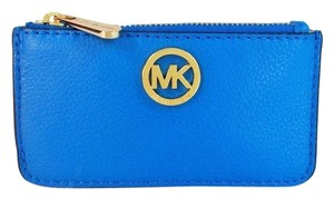 Michael Kors Michael Kors Fulton JS Leather Key Chain Pouch CardCase Wallet NWT Heritage Blue