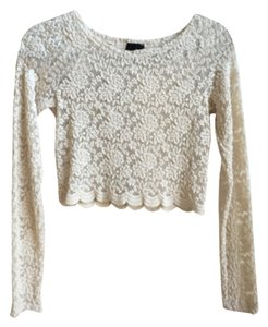 Audrey Nasty Gal Lace Long Sleeve Crop Top Cream