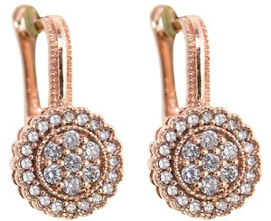 ABC Jewelry Dangle Circle earrings 14Kt rose gold set with genuine brilliant cut diamonds