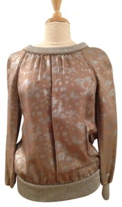 Marc by Marc Jacobs Retro Silk Top Silver and Caramel Metallic