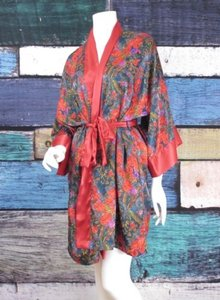 Victoria's Secret Victorias Secret Gold Label Vintage Rose Paisley Short Kimono Satin Robe Osfa