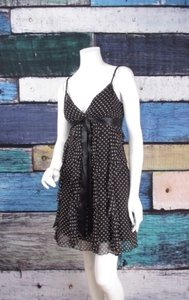 BCBGMAXAZRIA short dress Black, Brown Bcbg Max Azria Polka Dot 100 Silk Tank Ruffle on Tradesy