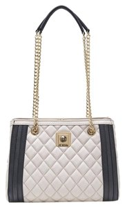 Moschino Stylish Love Handbag Synthetic Leather Black Details Double Handle Chain Satchel in cream